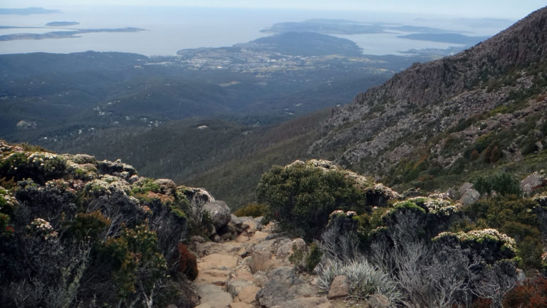 An aerial view over Hobart from the Zig Zag Track